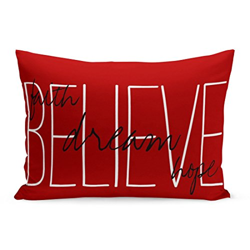 Abakoyi Throw Pillow Cover Motivate Believe Dream Faith Hope Inspire Monogram Family Rustic Decorative Pillow Case Home Decor 20x30 Inches Pillowcase by Abakoyi