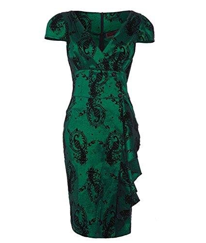 Voodoo-Vixen-Peacock-Flocked-Taffeta-Green-Cocktail-Party-Pencil-Dress