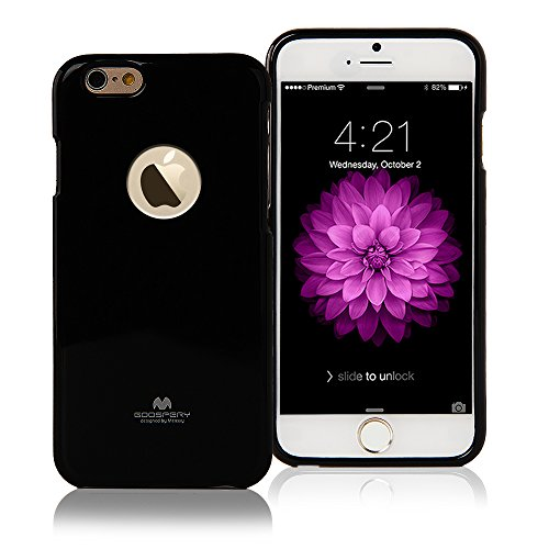 """iPHONE 6 Case, [Ultra Slim] Goospery® Color Pearl Jelly [Slight Pearl Glittery Sheen] Case *Anti-Yellowing + Anti-Discoloring Finish* Premium TPU [Shock Absorption] Cover with Apple Logo Cutout for Apple iPhone 6 [4.7""""] - Black"""