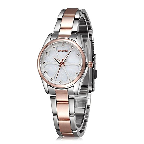 (Ladies Stainless Steel Wrist Watch for Women - Female Rose Gold, Silver)