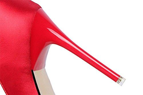 Tacco Scarpe Di Partito Di Donne Signore Spillo Sandali A Bassa Crossover Metà Dimensioni Eu40 Nuziale Di Promenade Cerimonia Alto Pompe Del Rosso wEqgZqY