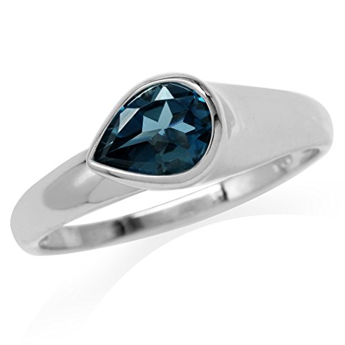 1.28ct. Genuine Pear Shape London Blue Topaz White Gold Plated 925 Sterling Silver Modern Style Ring Size 8