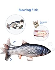 """Leven 10"""" Electric Flopping Cat Kicker Fish Toy, Realistic Moving Fish, Wiggle Fish Catnip Toys, Motion Kitten Toy, Plush Interactive Cat Toys, Fun Toy for Cat Exercise, Cat-Fish-Toy-Kitty-Interactive"""