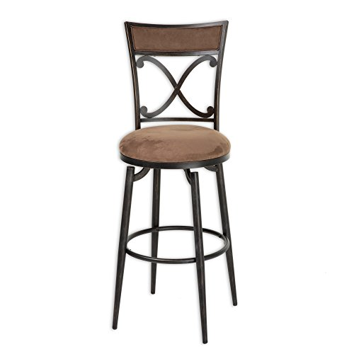 Montgomery Metal Bar Stool with Cocoa Microfiber Swivel-Seat and Blackened Bronze Frame (Black Microfiber Suede Bar Stool)