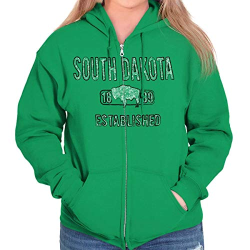 South Dakota Buffalo Vintage SD Americana Zip Hoodie Irish Green