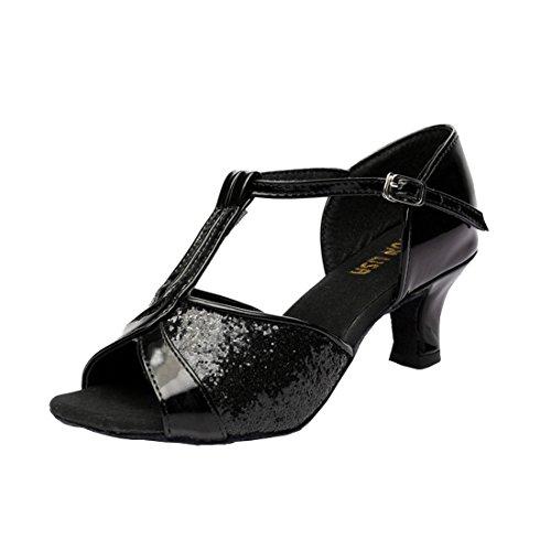 mit Tanz Latein Absatz Tanzschuhe Damen Latein Tanzschuhe 7cm Schuhe Schwarz DorkasDE Absatz Ballsaal 5 5cm Mädchen nUw0xq1xHz