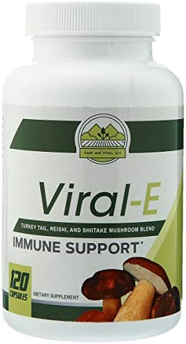 Cash and Finn – Viral-E Multi Mushroom Capsules Immune System Support with Turkey Tails, Reishi, and Shiitake 120 Count