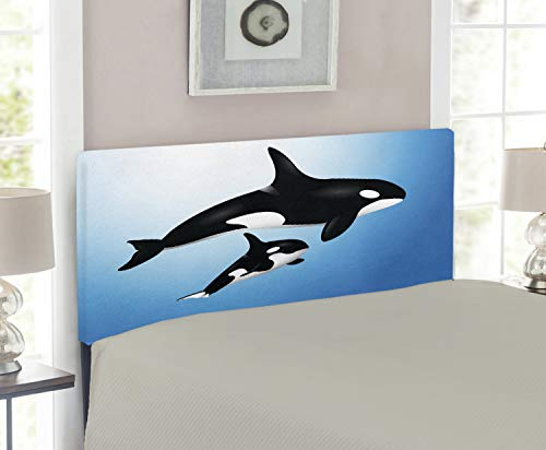 (Lunarable Whale Headboard, Orca Family Mother and Baby Swimming in The Ocean Children Parenthood Theme, Upholstered Decorative Metal Headboard with Memory Foam, for Twin Size Bed, Blue Black White)