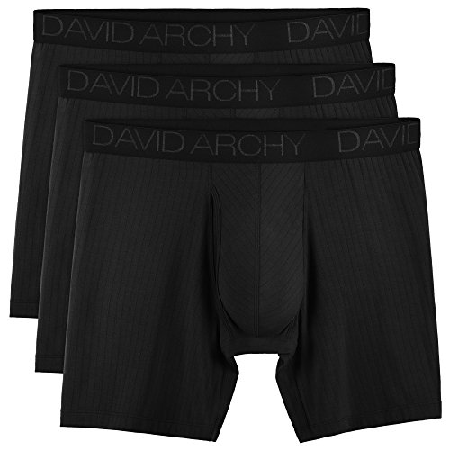 Needle Mens - David Archy Men's 3 Pack Ultra Soft Micro Modal Boxer Briefs with Fly Drop Needle Style Boxers (L, Black)