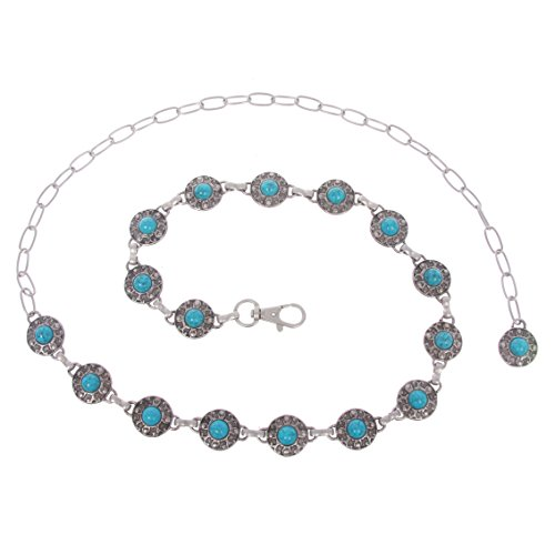 [Women's Western Turquoise Stone Blue Concho Chain Belt, one size: 27