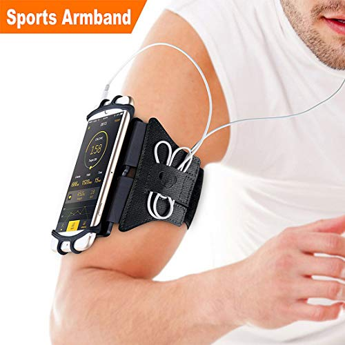 Sports Armband, 180° Rotatable Workout Cellphone Armband Phone Holder for Running Jogging, Cell Phone Running Armband for 4-6
