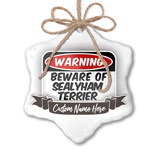 (NEONBLOND Create Your Ornament Beware of The Sealyham Terrier Dog from Wales Personalized)