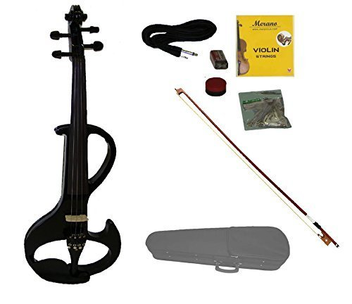 Merano MVE20BK-A 4/4 Full Size Ebony Fitted Electric Silent Violin with Case and Bow Free Rosin, Black