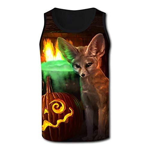 Mens Creative Halloween Fox and Pumpkin Casual Sport Vest ()