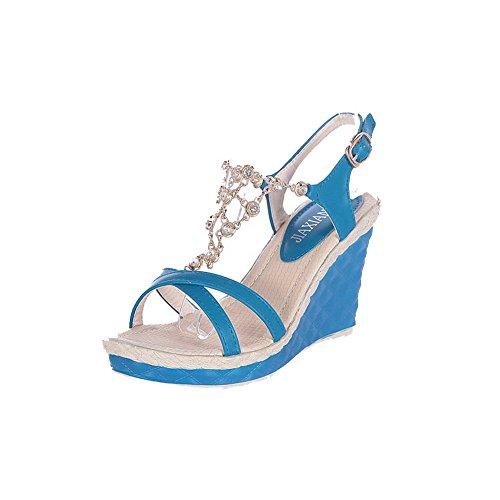 VogueZone009 Mujeres Hebilla Puntera Abierta Sólido Sandalia de Cuña con Diamante Azul