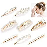 Pearls Hair Clips Set for Women Girls, Fashion Sweet Artificial Pearl Barrettes Hair Pins, Perfect Hair Accessories Decorations for Party, Birthday Valentines Day Gifts (8 pcs)
