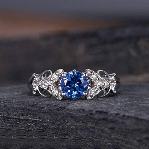 Fashion Blue Sapphire Women Wedding Engagement Ring 925 Silver Jewelry Size 6-10
