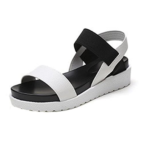 85c19827a1b73 Confortables Dames Peep Chaussures Muffin Tropeziennes Noir Blanc Cuir D été  Sandales toe Femmes Marron Basses Avec Poisson Romaines Ohq Pour ...