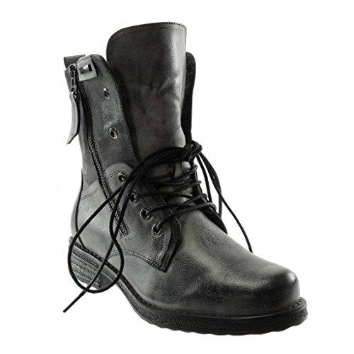 Stiefeletten 5 Boots Damen Combat 3 bi Schuhe Angkorly Biker cm Blockabsatz Spitze Grau Reißverschluss Material RwUqI7EEd