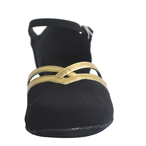 Jig Foo Fighters Latina Salsa Rumba Chacha práctica salón de baile zapatos de baile para las mujeres Black and Gold
