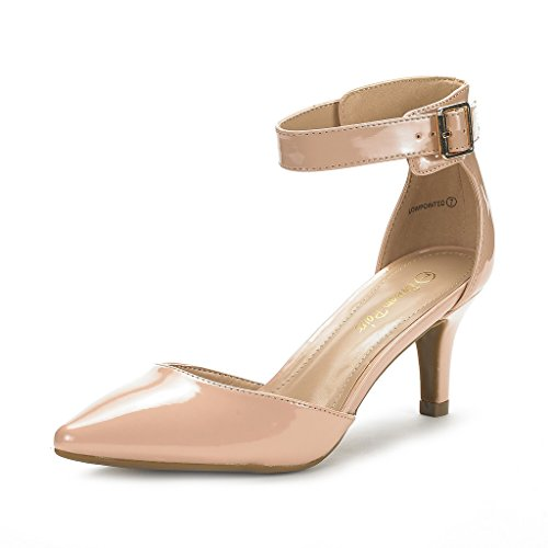 Pumps New Women's DREAM Toe Dress LOWPOINTED Evening NUDE PAIRS Pointed Strap Ankle Low Heel Wedding D'Orsay Shoes PAT 6wFxCxS