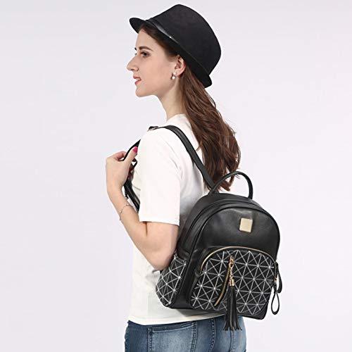 Women's backpack 03pink plaid cute casual tassel diamond travel B4wrzBHq