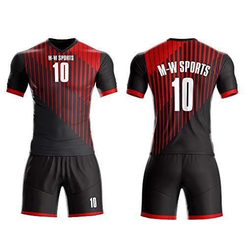 M-W Sports Purple Soccer Jerseys Full kit Custom Football Uniforms Set Goalkeeper Sportswear (L, Red)