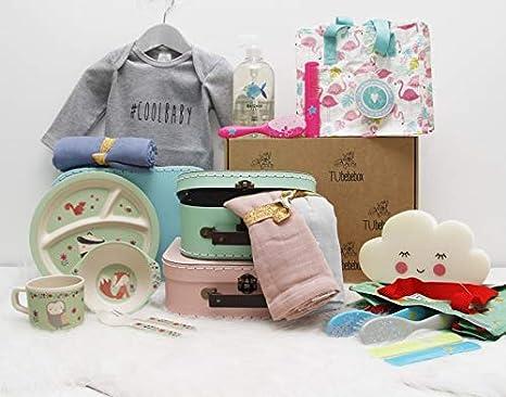 Canastilla bebé niña Happy Baby - Cesta regalo bebé a partir de 6 meses - Incluye productos de cosmética, para la hora de comer y más productos de ...