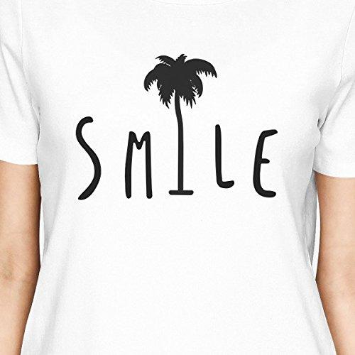mujer Camisa Palm Tree manga Smile corta para Printing White de 365 Camiseta g0RqnO