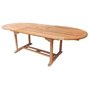 Mesa extensible ovalada de madera s lida de teca para jard n y terraza hogar - Amazon mesas de jardin ...