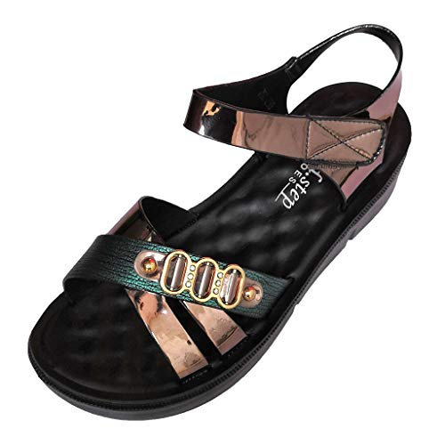 Women Sandals, ❤️ FAPIZI Summer Platform Wedges Sandals Hollow Out Open Toe Shoes Flat Shoes Vintage Sandals Green
