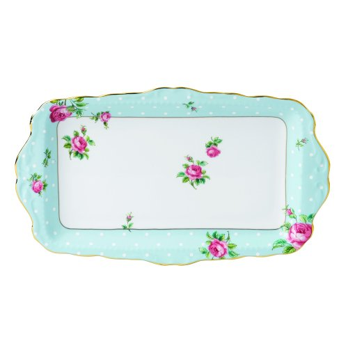 Vintage Sandwich Tray - Royal Albert 8705026137 Vintage Formal Sandwich Tray, Polka Blue