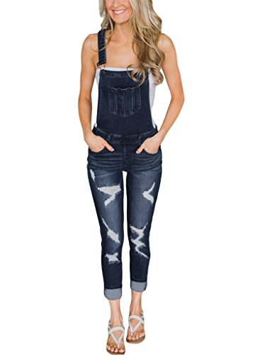 (Bulawoo Women Classic Stretch Ankle Length Distressed Destroyed Skinny Jeans Bib Denim Overalls Jumpsuits Long Pants Large Dark Blue1)