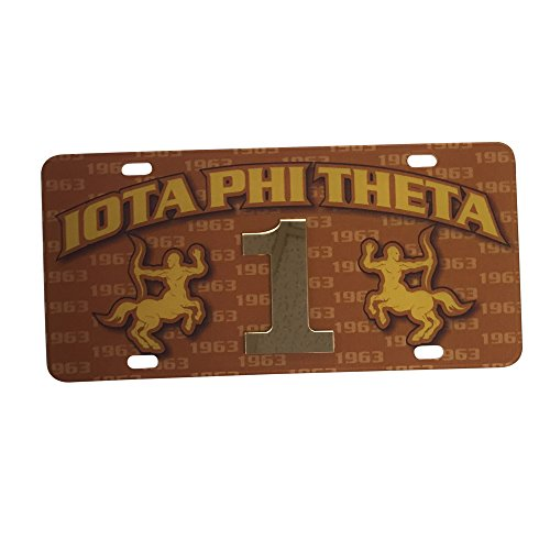 (Iota Phi Theta Fraternity Line Number # Car Tag Acrylic Printed Decorative Tag For Front Back of Car (#1))