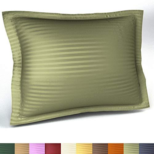Harmony Lane Sateen Stripe Tailored Pillow Sham, King Size, Sage