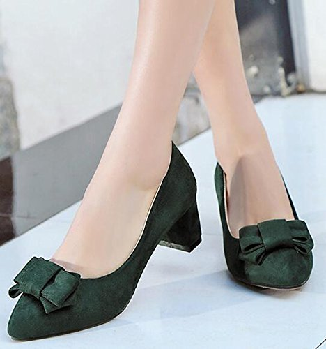 IDIFU Womens Dressy Low Top Slip On Mid Chunky Heels Faux Suede Pumps Shoes With Bows Green GNiWueXKh