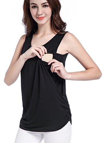 SUIEK Maternity Nursing Shirt Breastfeeding Tank Tops (X-Large, Black)