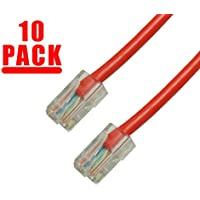 Grandmax 10-Pack CAT5e RJ45 Ethernet Network Patch Cable, 350MHz, UTP/ 10FT/ RED