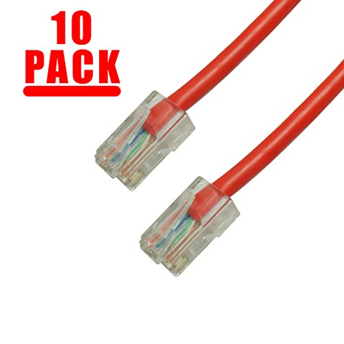 Grandmax 10-Pack CAT5e / 7FT/ RED / RJ45 Ethernet Network Patch Cable, 350MHz, UTP (Cat5e Network 350mhz 7 Foot)