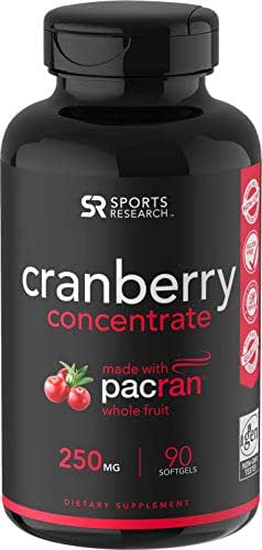 Cranberry Whole Fruit Concentrate (Triple Strength) equivalent to 12500mg of Fresh Cranberries ~ Made with clinically Proven Pacran® ~ Non-Gmo & Gluten Free (90 Softgels)