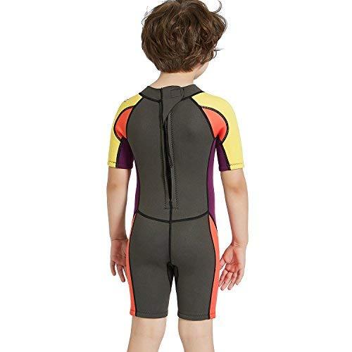 Dark Lightning 2mm Shorty Wetsuit Kids, Boy's Swimwear Shorty Sleeves, Children's Neoprene Diving/Surfing Swimsuit, Grey Wet Suits, S Size