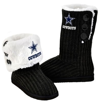 NFL Football Ladies Knit High End Button Boot Slippers - Black (Dallas Cowboys, Large)