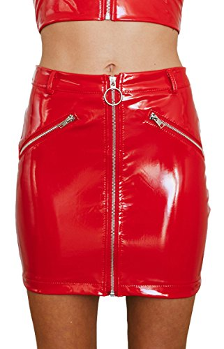 Women's Shiny Liquid Metallic Wet Look Flared Bodycon Pencil Skirts Sexy Short PU Skirts (Red, (Wet Look Skirt)