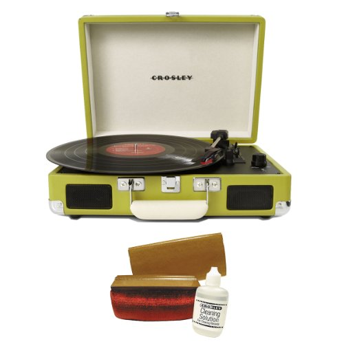 Crosley CR8005A-GR Cruiser Portable Turntable (Green) w/ Record - Green Record Player