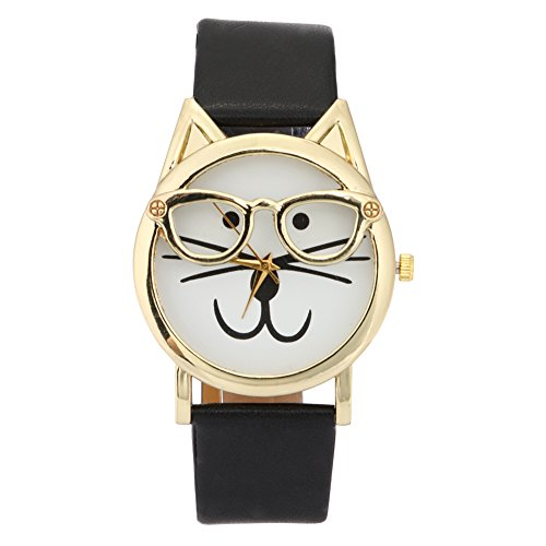 Jocestyle Lovely Cat Face Shape Wrist Watch Cute Stainless steel Glasses Faux Leather Quartz Wristwatch - Face For Glasses Shape