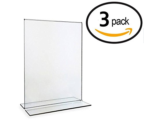 T'z Tagz Brand Bottom Load Double Sided 8.5 X 11 Inches Plexi Acrylic Sign Holder 3 PACK!!! - Single Sheet Easel-style 8-1/2X11
