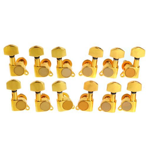 12pcs K-803 Guitar String Tuning Pegs Tuners Machine Heads Gold 6L6R (Tuning Machines 12 Guitar String)