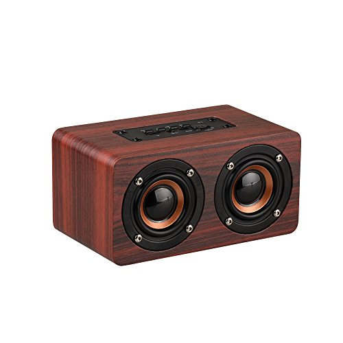 Anynow Portable 10W Bluetooth HiFi Sound Wooden Speaker Support TF Card AUX Handsfree Wireless Stereo Speaker for Home & Outdoor (Red-s) by Anynow