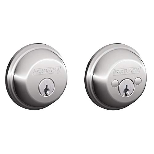 Schlage B62 Double Cylinder Grade 1 Deadbolt from the B-Series, Polished Chrome