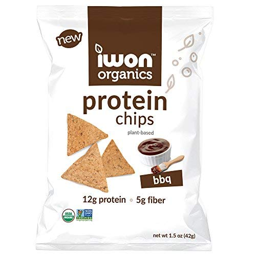 iwon organics BBQ Flavor Snack Chips, High Protein and Organic, 8 Bags, 1.5 Ounce